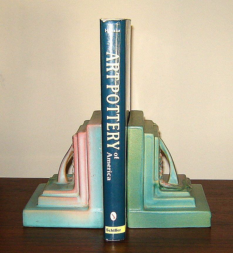 Pair of Roseville Art Pottery Foxglove Bookends