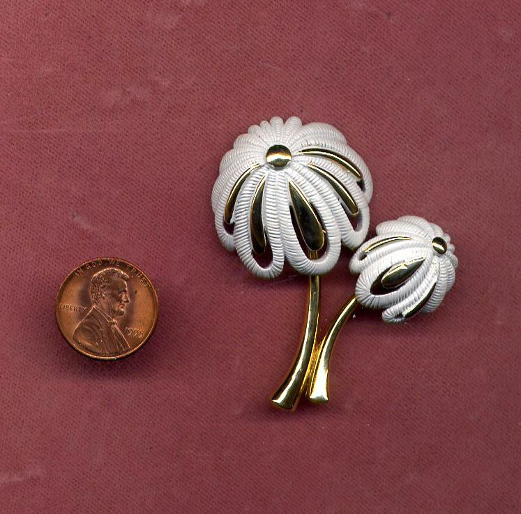 "Gold-Filled and White Enamel Palm Tree Pin from ""Monet"""