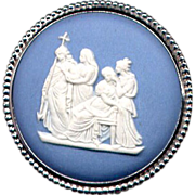 Sterling Blue Wedgwood Pottery Scenic Cameo Pin