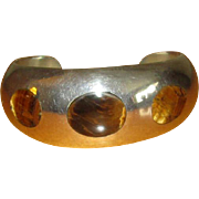 Mexican Sterling Cuff Bracelet with Tiger Eye Inlay