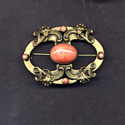Brass Sash Pin with Faux Coral Stones