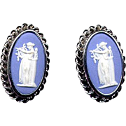 Sterling Silver Blue Wedgwood Cameo Screw-Back Earrings