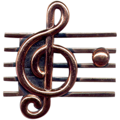 """Renoir"" Polished Copper Treble Clef Pin"