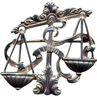 Cini Sterling Libra Scales of Justice Pin