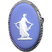 Sterling Silver Blue Wedgwood Cameo Pin