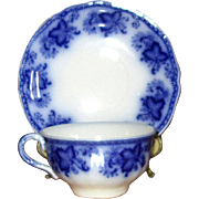 "English Flow Blue Johnson Bros. ""Princeton"" Cup & Saucer"