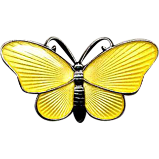 Norway Sterling & Yellow Guilloche Enamel Butterfly Pin