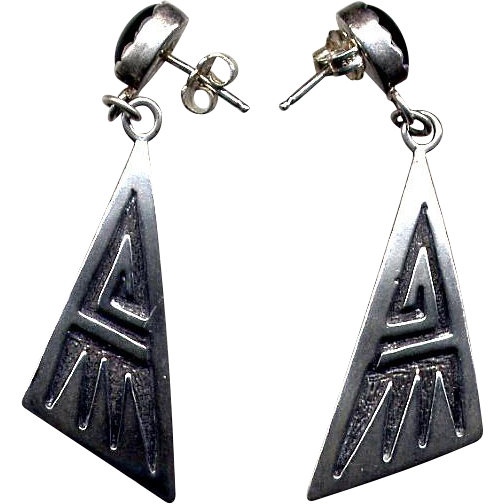 Native American Sterling & Black Onyx Drop Earrings