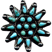Native American Silver and Turquoise Cluster Pin