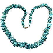 "22"" Turquoise Nugget Necklace with 14K Clasp"