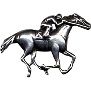 Sterling Silver Race Horse & Jockey Pin