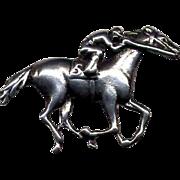 Sterling Silver Race Horse & Jockey Pin