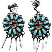 Native American Silver and Turquoise Drop Earrings