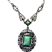 Vintage Costume Pendant Necklace with Czech Glass