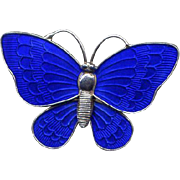 Denmark Sterling and Blue Guilloche Enamel Butterfly Pin
