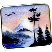 Norway Sterling & Guilloche Enamel Scenic Pin