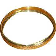 Large Size Gold-Filled Bangle Bracelet with Engraved Design