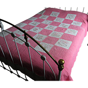 Pink & White Embroidered Floral Vintage Quilt