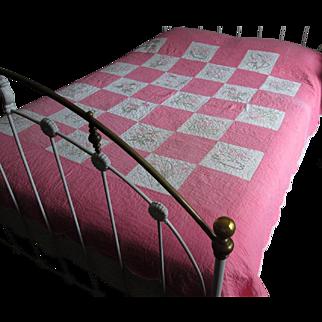 Pink & White Embroidered Floral Vintage Quilt