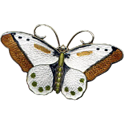 Large Norway Sterling & Multicolored Enamel Butterfly Pin