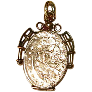 10K Gold Victorian Fob Locket with Engraved Rose