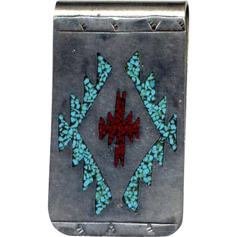 Native American Sterling Silver Inlaid Money Clip