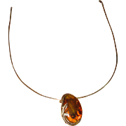 Sterling Silver & Amber Pin or Pendant Necklace