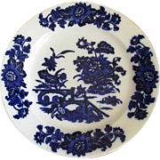 "English Flow Blue Pottery ""Yedo"" 10 1/2"" Plate"