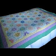 """Vintage Patchwork """"Granny's Flower Garden"""" Quilt with Matching Sham"""