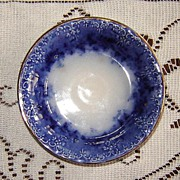 Flow Blue Butter Pat with Raised Design