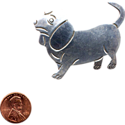 Mexico Sterling Silver Unhappy Beagle Dog Pin