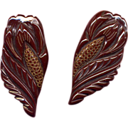 Pair of Fancy Carved Brown Bakelite Dress Clips