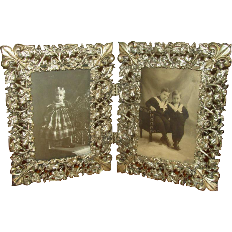 Fancy Vintage Double Folding Tabletop Picture Frame