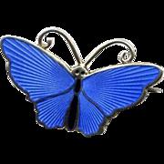Norway D-A Sterling Blue Enamel Butterfly Pin