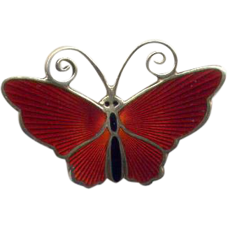 Norway D-A Sterling Red Enamel Butterfly Pin