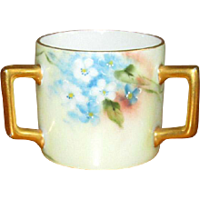 Hand-Painted Porcelain Baby Cup with Three Handles