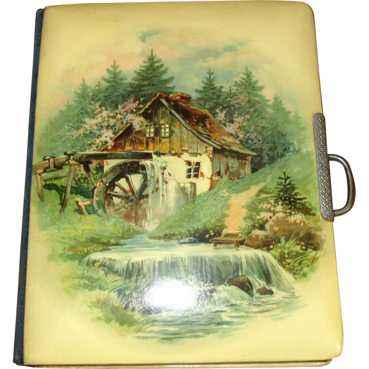 Victorian Photo Album with Scenic Celluloid Cover