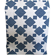 Vintage Hand-Made Blue & White Star Quilt
