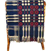 Pre-Civil War Red, White, and Blue Woven Geometric Coverlet