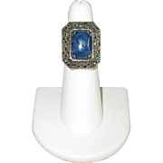 Sterling Silver and Marcasite Ring with Blue Jasper