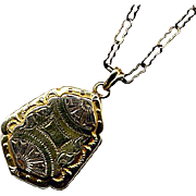 Fancy Engraved Art Deco Locket with Period Chain