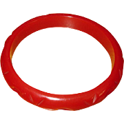 Vintage Carved Red Bakelite Bangle Bracelet