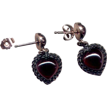 Sterling Vermeil Drop Post Earrings with Garnets