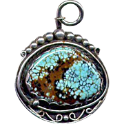 Native American Sterling Silver Pendant with Turquoise