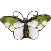 Green & White Enamel on Sterling Norway Butterfly Pin
