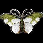 Green & White Enamel on Sterling Norway Butterfly Pin