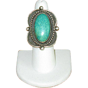 Large Sterling & Green Turquoise Navaho Ring