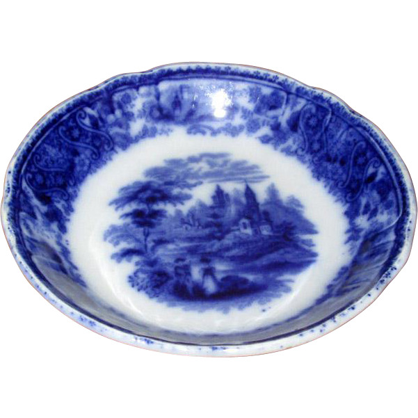 """English Flow Blue """"Nonpareil"""" Fruit Bowl"""