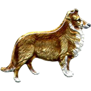 Silver and Enamel Collie Dog Pin