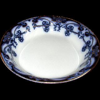 "English Flow Blue ""Iris"" Cream Soup Bowl"